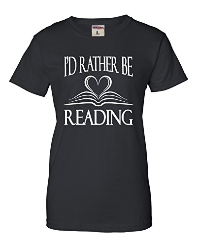 Womens Id Rather Be Reading Book Lovers T-Shirt Printing T Shirts Novelty Printed Summer Cotton Women Tops Funny Angel Grunge