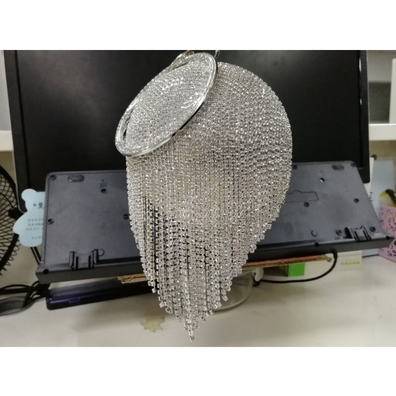 Image 3 - Sliver Diamonds Rhinestone Round Ball Evening Bags For Women 2018 Fashion Mini Tassels Clutch Bag Ladies Ring Handbag Clutches-in Top-Handle Bags from Luggage & Bags
