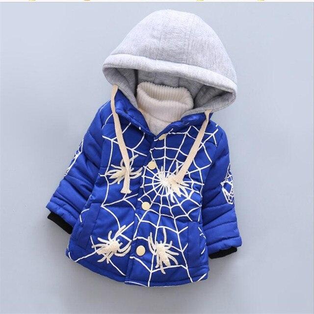 2016 высокое качество мальчик пальто мода мультфильм анимация с капюшоном верхняя одежда для осень зима теплая снег носить 2 цвета