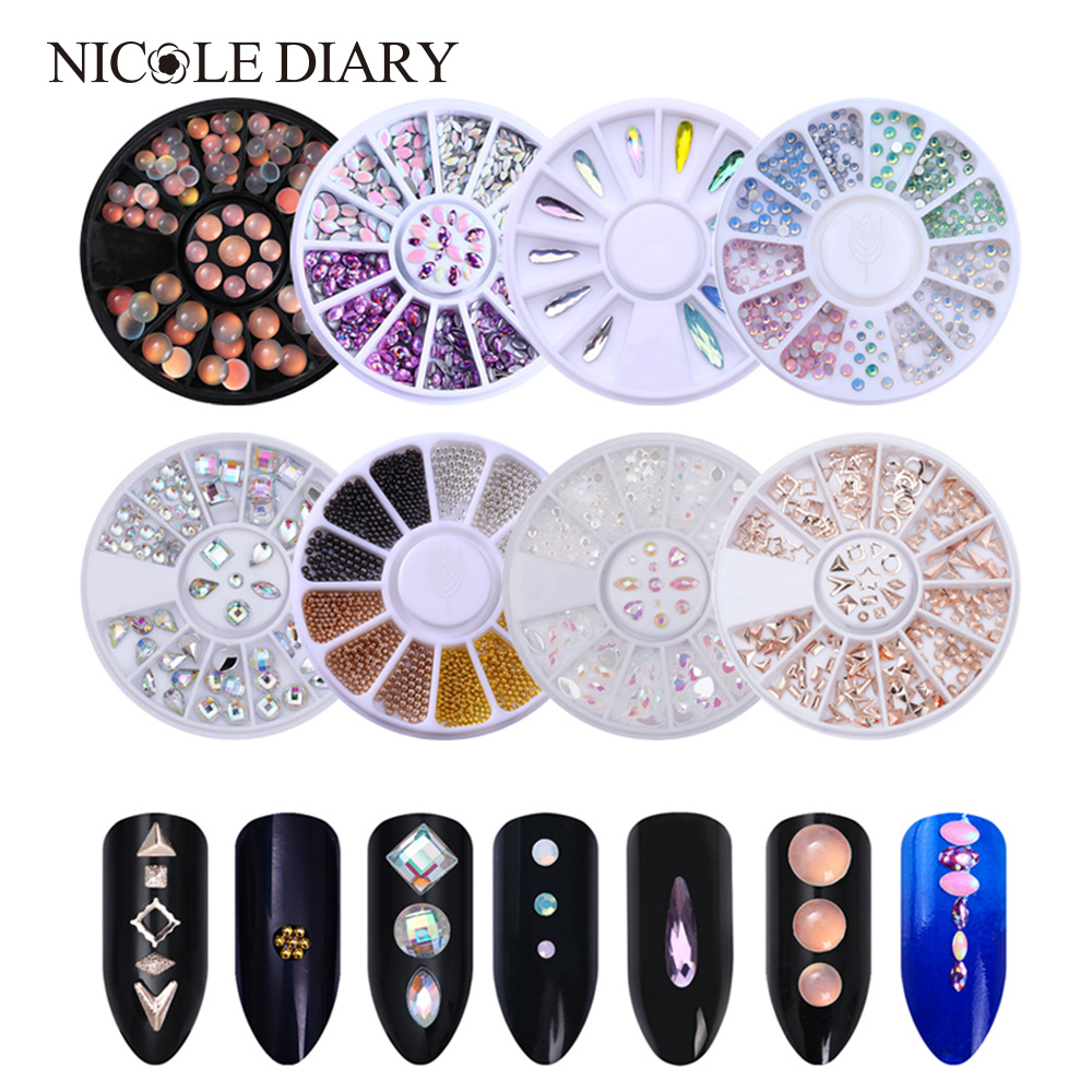 Opal Nail Rhinestone AB Color Nail Art Decorations Colorful Marquise Heart Flat Bottom 3D Nail Decoration Water Drop in Wheel