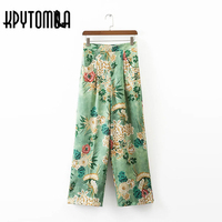2017 Fashion Women S Pants Elegant Vintage Floral Print High Elastic Waist Loose Wide Leg Pants