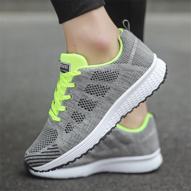 Fast delivery Women casual shoes fashion breathable Walking mesh lace up flat shoes sneakers women 2018 tenis feminino