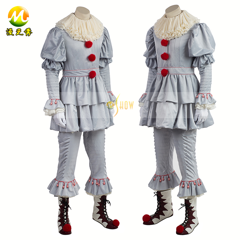 2017 Horror Movie Stephen King It Pennywise Halloween Cosplay Costume for adult Man Women fancy Clown cloth Customized Size