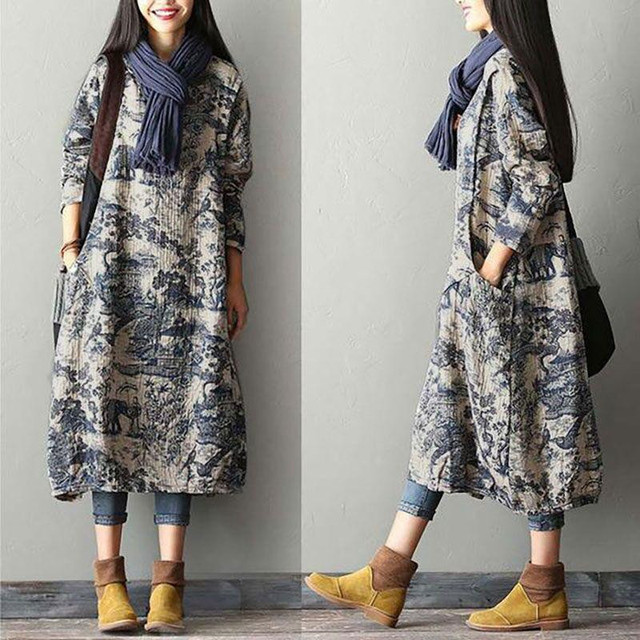 aecfee291 BUYKUD 2018 Women Autumn Winter Printing Split Dress Robe Vintage Round  Neck Long Sleeve Casual Loose Long Dresses With Pockets