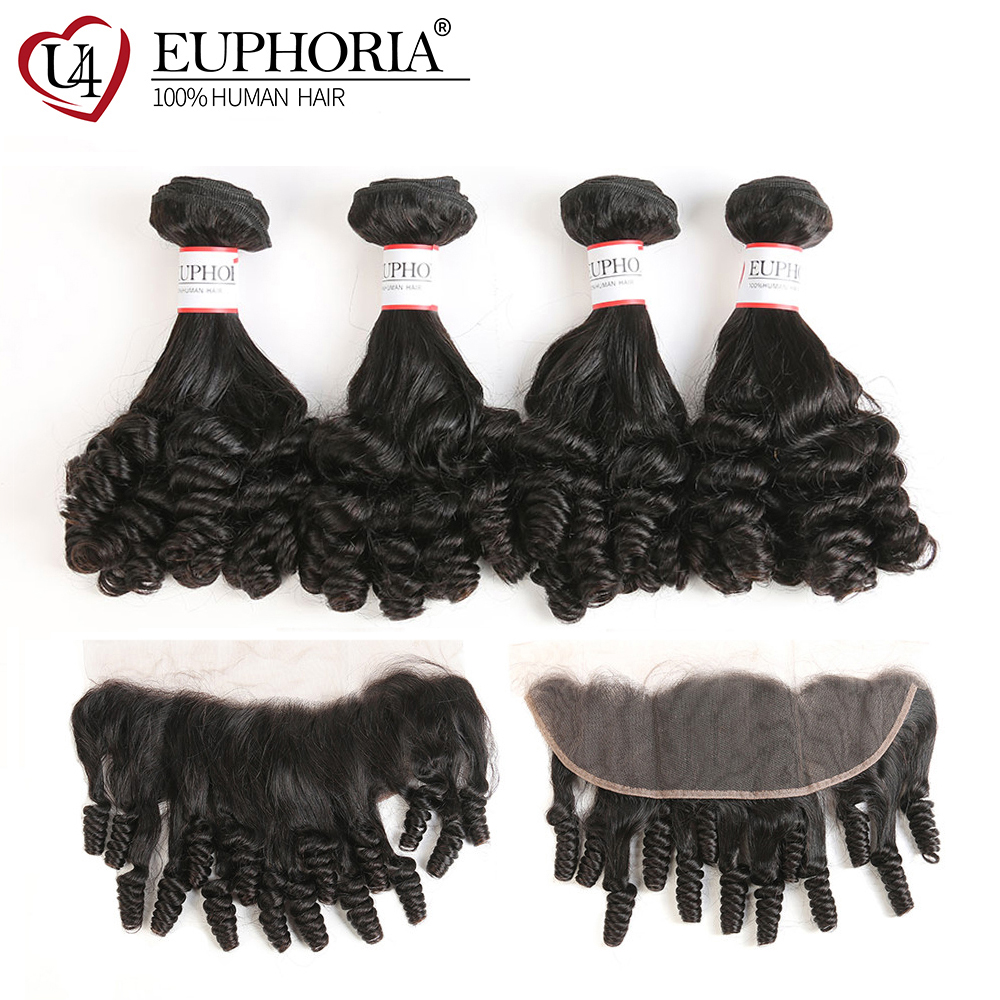 Brazilian Lace Frontal With 1/3 Bundles Euphoria Natural Color Human Hair Weaves With Closures Funmi Curly 100% Remy Bundle Hair
