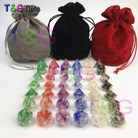 42pcs/bag New Dice Polyhedral Nebula of 6 color set for D&d Game plus POUCH BAG d4 d6 d8 d10 d12 d20 dice Gift Toy and bag