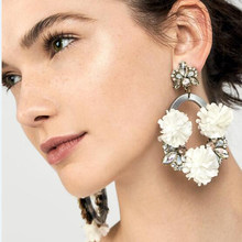 Best lady 2018 New Flower Heart Drop Earrings For Women Colorful Metal Hanging Earrings Engagement Accessories Jewelry Hot Sale(China)