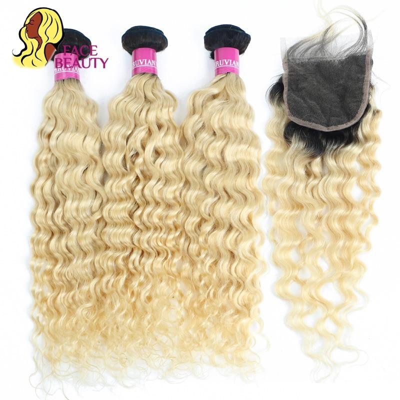 Facebeauty 1B 613 Blonde Ombre Colored Remy Human Hair 2 3 4 Peruvian Deep Wave Bundles