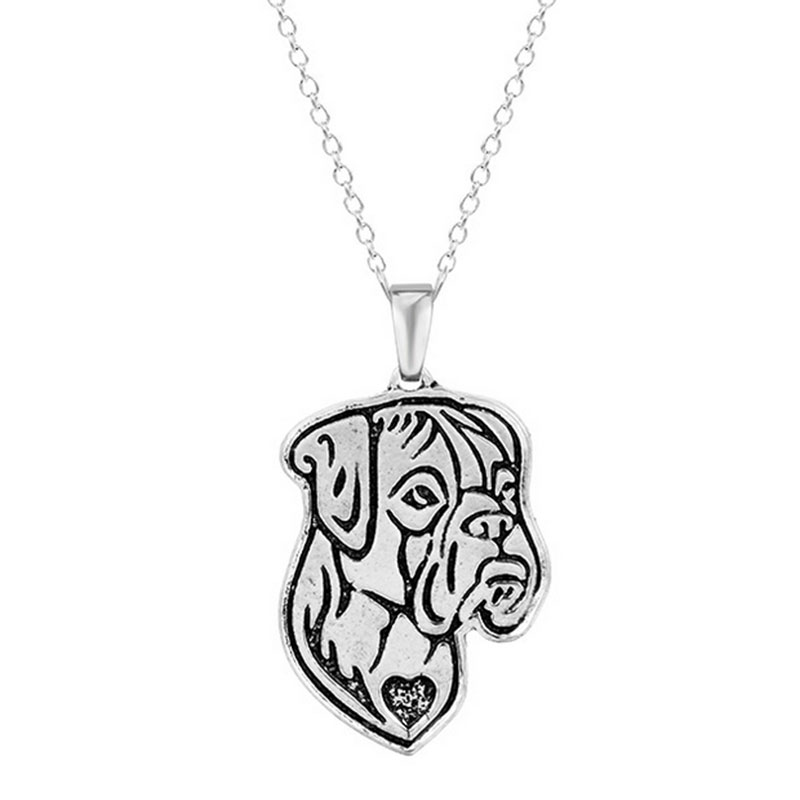 10pcs Boxer Natural Ears Necklace Dog Pendant Necklaces Animal Charm Christmas Gifts For Pet Lovers Dog Jewelry Stores