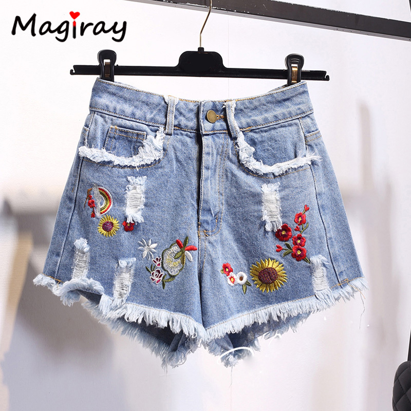 Magiray High Waist Denim   Shorts   Women Flower Embroidery Fringe Pocket Hole Plus Size   Shorts   Jeans Female Korean Harajuku C435