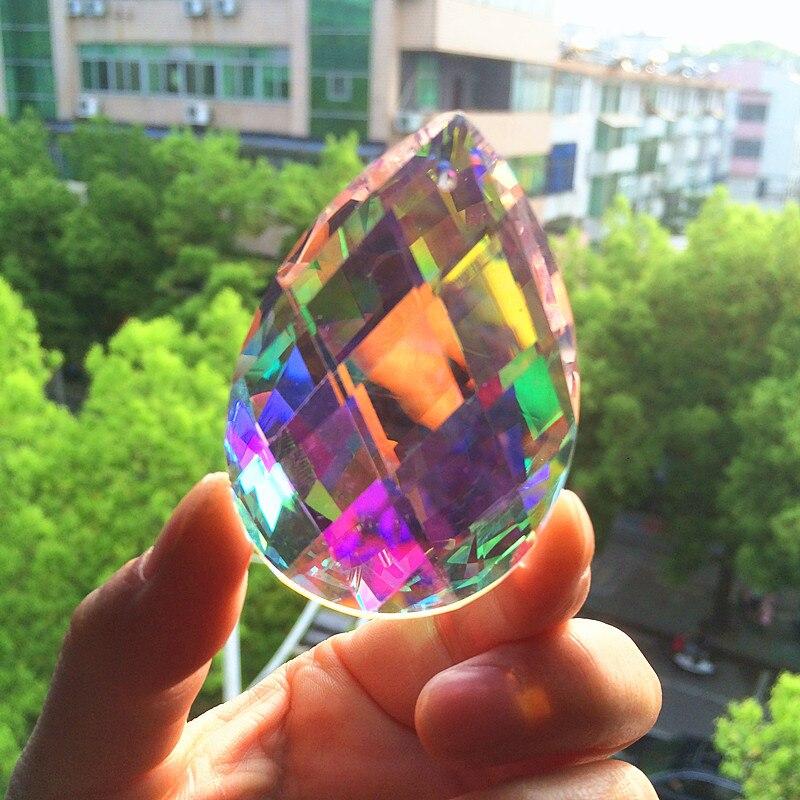 63mm AB K9 Crystal Faceted Chandelier Pendants Cristal Prisms Curtain Parts Window Suncatcher DIY Christmas Tree Hanging Decor