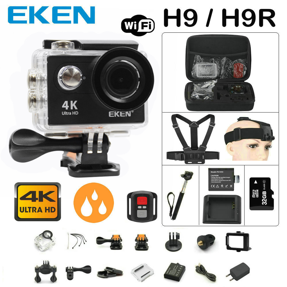 Action camera Original EKEN H9 / H9R remote Ultra FHD 4K WiFi 1080P 60fps 2.0 LCD 170D sport go waterproof pro camera deportiva original eken action camera eken h9r h9 ultra hd 4k wifi remote control sports video camcorder dvr dv go waterproof pro camera