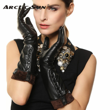 2019 New Womens Genuine Leather Gloves Female 100% Lambskin Finger Touch Button Decoration Long Style L147NC1