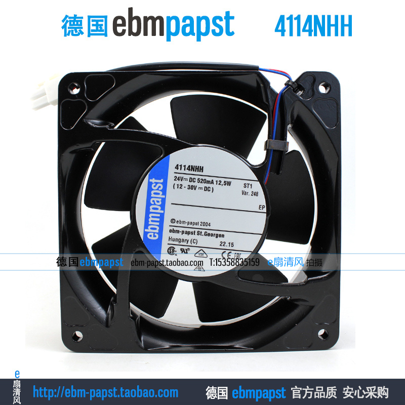 ebm papst 4114NHH DC 24V 0.52A 12.5W 120x120x38mm Server Square fan free shipping for papst 4414 fn 2n dc 24v 8 3w 3 wire 3 pin connector 120x120x25mm server square fan