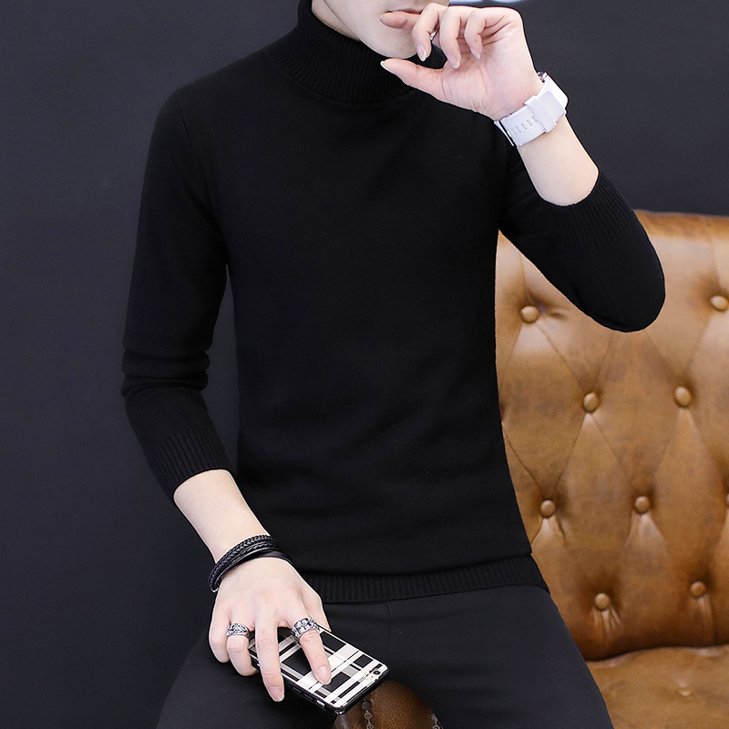 Image 3 - Winter High Neck Thick Warm Sweater Men Turtleneck Brand Mens Sweaters Slim Fit Pullover Men Knitwear Male Double collarPullovers   -