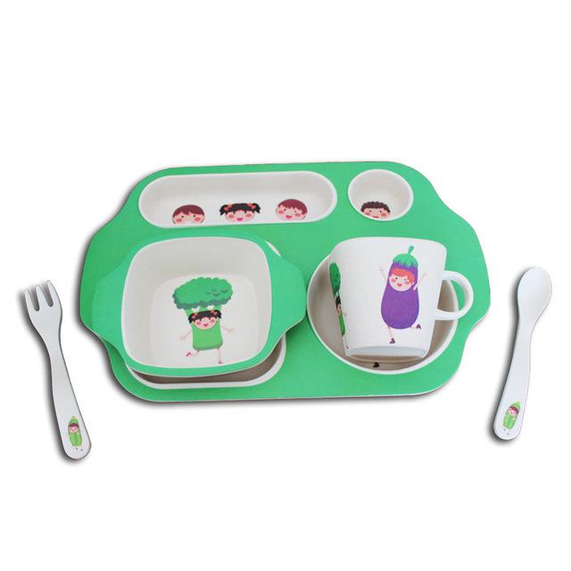 Crianças de Fibra De bambu Talheres Definir a Qualidade Top 5 Peça Suit Dos Desenhos Animados Kawaii Tigela Dinnerware Set para Presente + Placa de serviço + colher C15