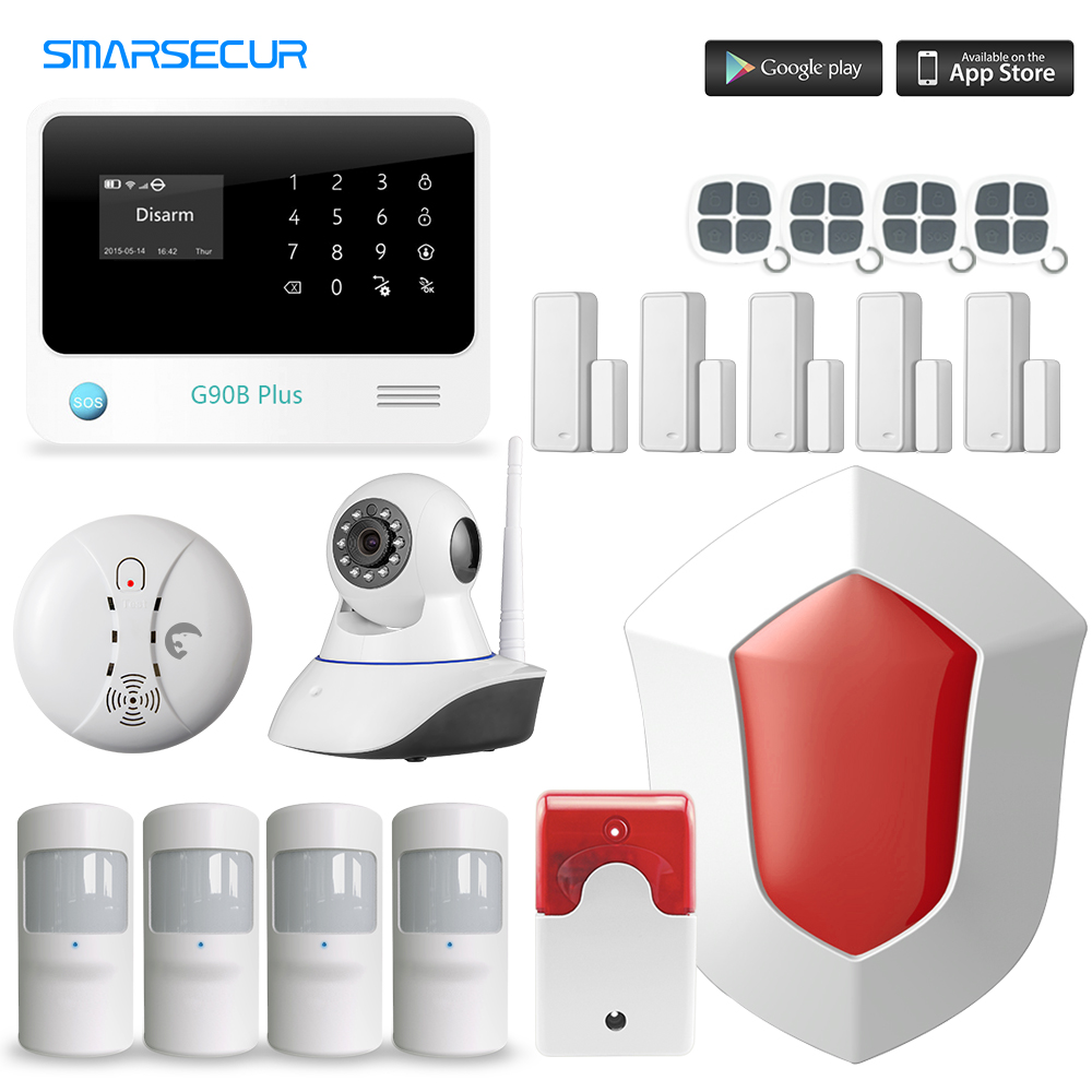 Russian/English/French/Spanish WiFi Alarm System Home GSM GPRS Burglar Alarm IOS Android APP Control Security Alarm System wifi gsm alarm systems security home alarma casas g90b android ios app remote control english spanish russian dutch word menu