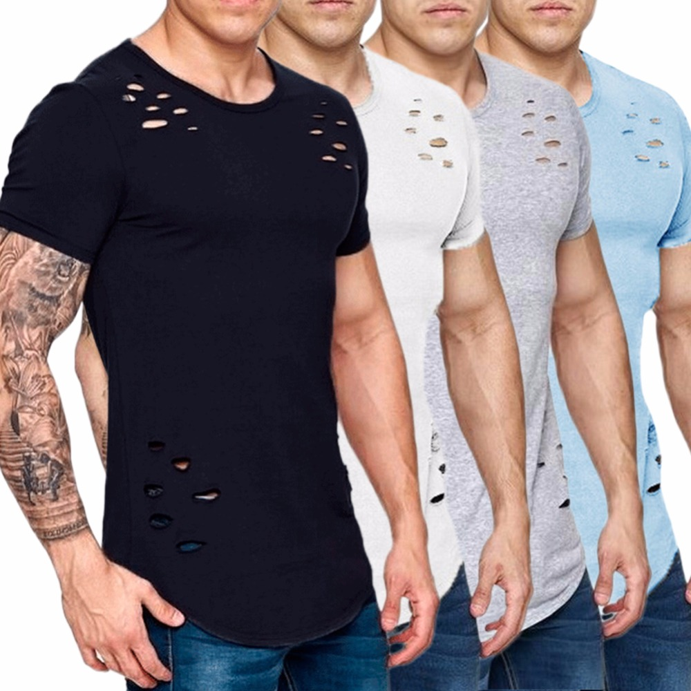 72241da3c 2018 Summer Ripped Hole T Shirt Men Plus Size 3XL Breathable Hip Hop ...