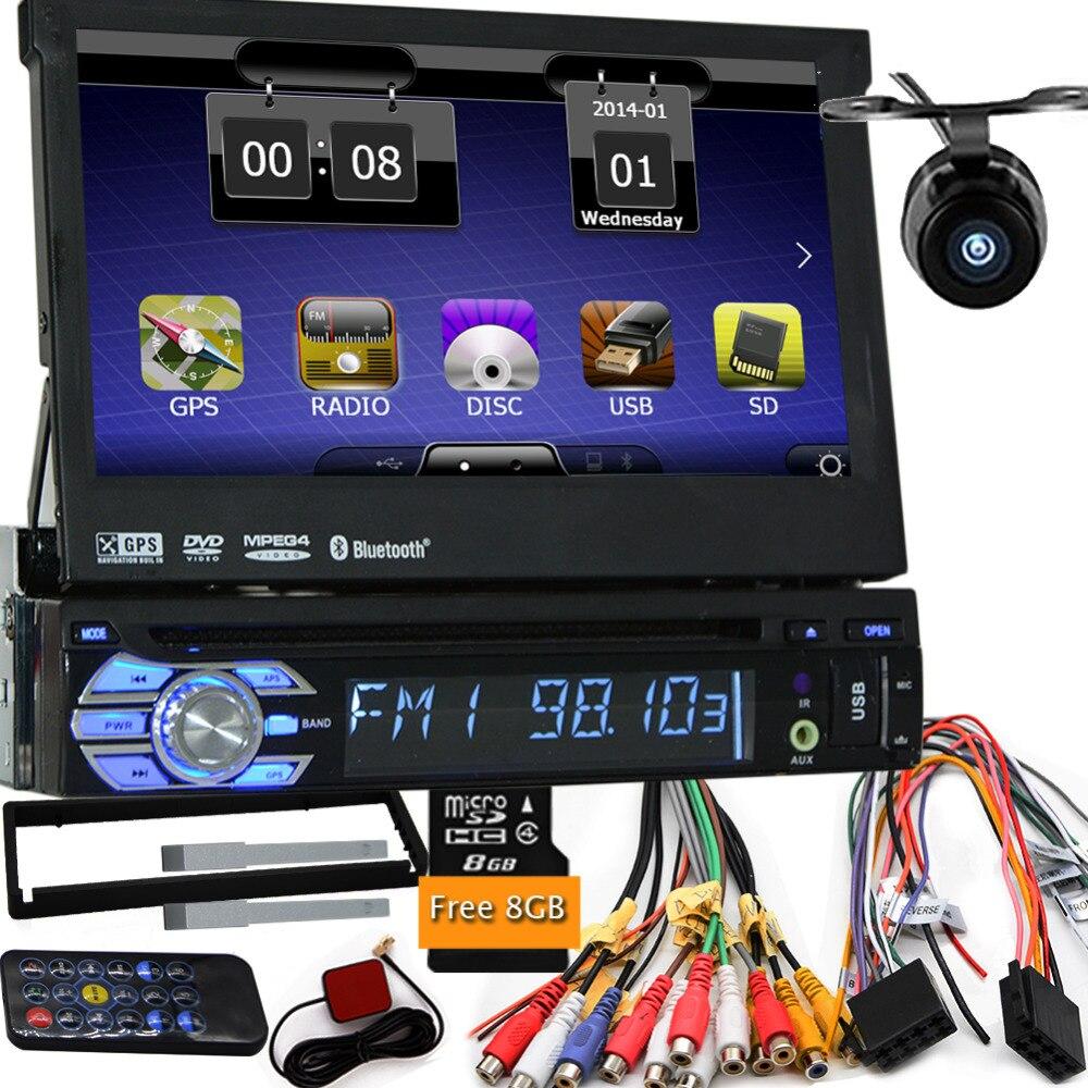 Камера с картой автомобилей DVD GPS плеер 1DIN универсальный GPS Видео Мультимедиа Bluetooth Авто Радио 1DIN gps-навигации автомобильный Радио dvd