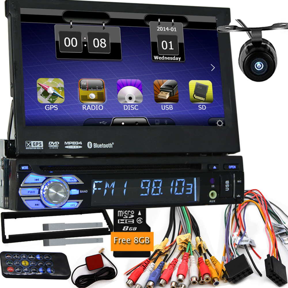 Camera with free shippment map car dvd gps player 1din universal GPS video Multimedia Bluetooth 7inch