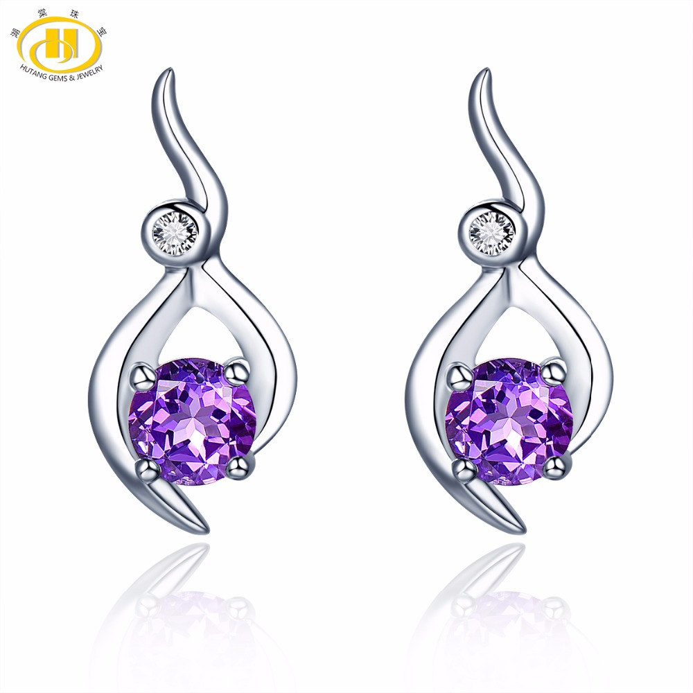 Hutang Stone Jewelry Natural Gemstone Amethyst Solid 925 Sterling Silver Earrings Fine Fashion Jewelry For February Birthstone NdIs04