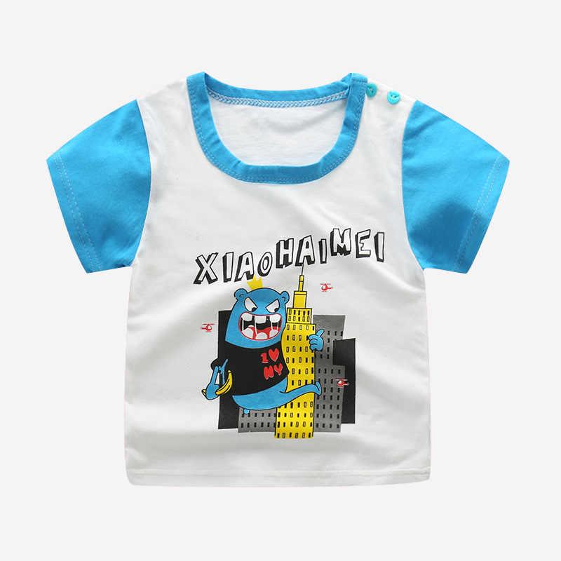 Детская футболка с короткими рукавами и мультяшными животными для малышей, Детские футболки для мальчиков, хлопковые повседневные футболки, топы для мальчиков, детская одежда