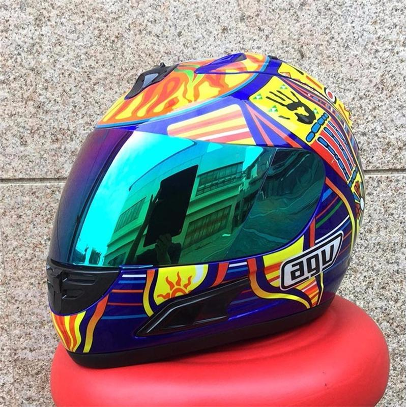 Depreciate Brand MALUSHUN Cool Men Blue Motorcycle Helmet Rossi Five Continents NUmber 46 Pattern Motocicleta Cascos