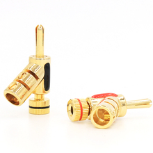 4pcs  gold plated lock banana connector speaker cable plug