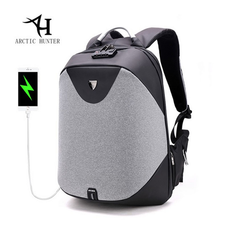 ARCTIC HUNTER New Men Backpack Anti-theft USB Charge 15.6 inch Laptop Backpack Three-Dimensional Business Affairs Backpacks arctic hunter design backpacks men 15 6inch laptop anti theft backpack waterproof bag casual business travel school back pack