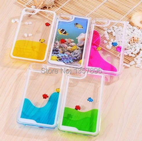 Hourglass Case Liquid Fun Crystal Clear Sand Fish Quicksand Hard Cover iPhone 5 4S Samsung Galaxy S5 i9600 Note3 N9000 - MagicBuying store