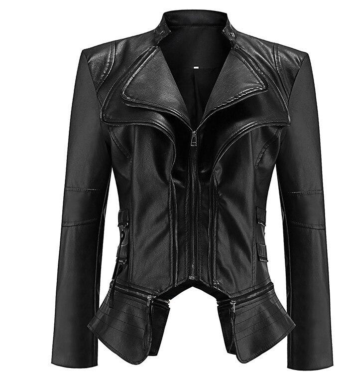 2018 Coat HOT Jacket Women Winter Black Washed Autumn Fashion Motorcycle Jacket Black faux leather coats Punk Style Outerwear