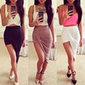 Womens Skirts Sexy Fashion 2015 New Solid High Low Wrapped Elastic Waist Asymmetrical Skirt Draped Cut Out Skirt 10