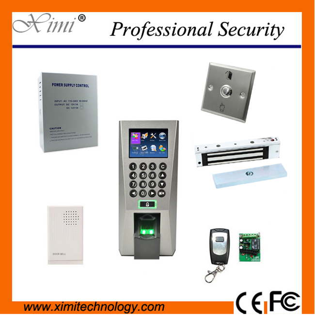 Hot sale F18 fingerprint access control kit 3000 fingerprint users TCP/IP, 180kg electromagnetic lock,door remote control