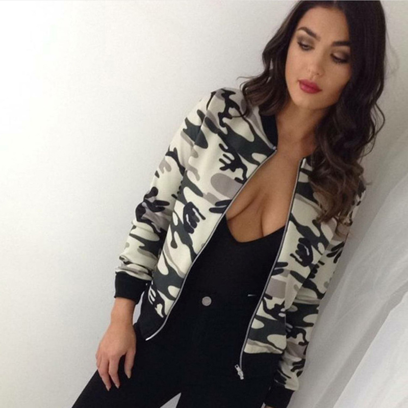 New Arrivals Women Camouflage floral   Jackets   Coats Casual   Basic     Jacket   Outwear Spring Autumn Flower Printed Overcoats