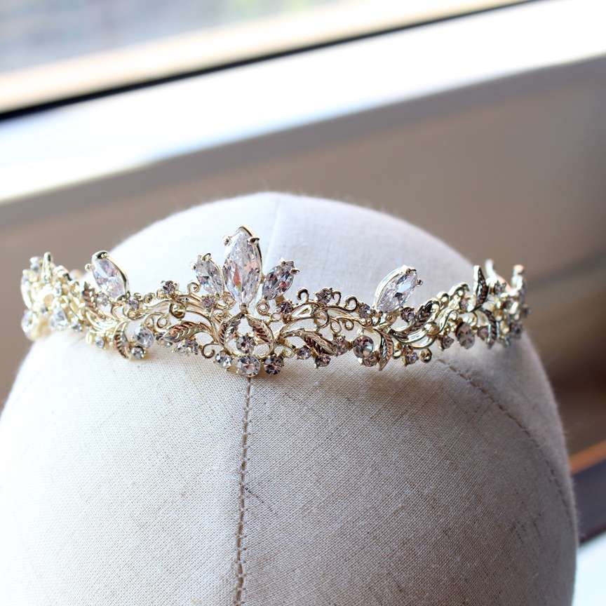 light  gold small size zircon tiara brides child tiara wedding hair jewelry