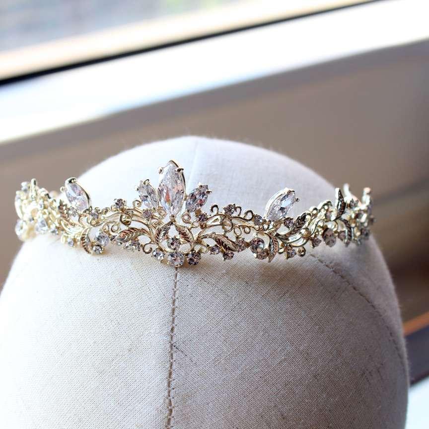 light  gold small size zircon tiara brides child tiara wedding hair jewelry