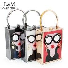 Luxus Acryl Abendtasche Frauen Lustige Nette Messenger Handtaschen Mädchen Kette Tageskupplung Vintage Gläser Mini Party Geldbörse XA790H
