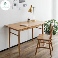 Louis Fashion Computer Desk Nordic Solid Wood Household Small Apartment Study Log Furniture Bedroom Modern Simple White Oak(China)