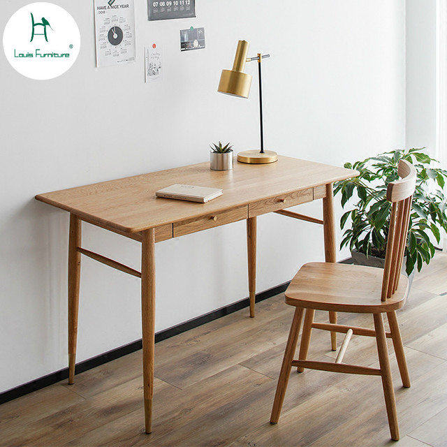 Louis Fashion Computer Desk Nordic Solid Wood Household Small Apartment Study Log Furniture Bedroom Modern Simple