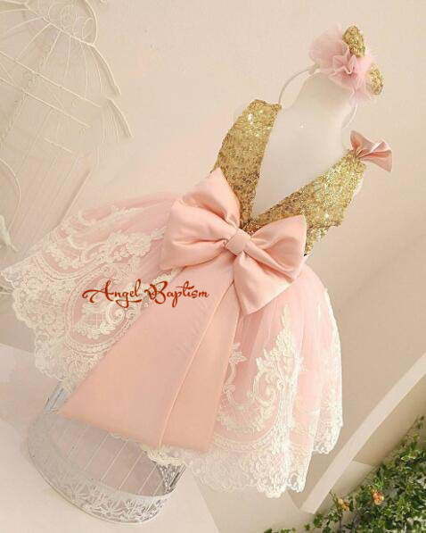 Blush pink backless baby dress sparkly golden sequin lace appliques toddler pageant birthday party outfits junior Easter gowns