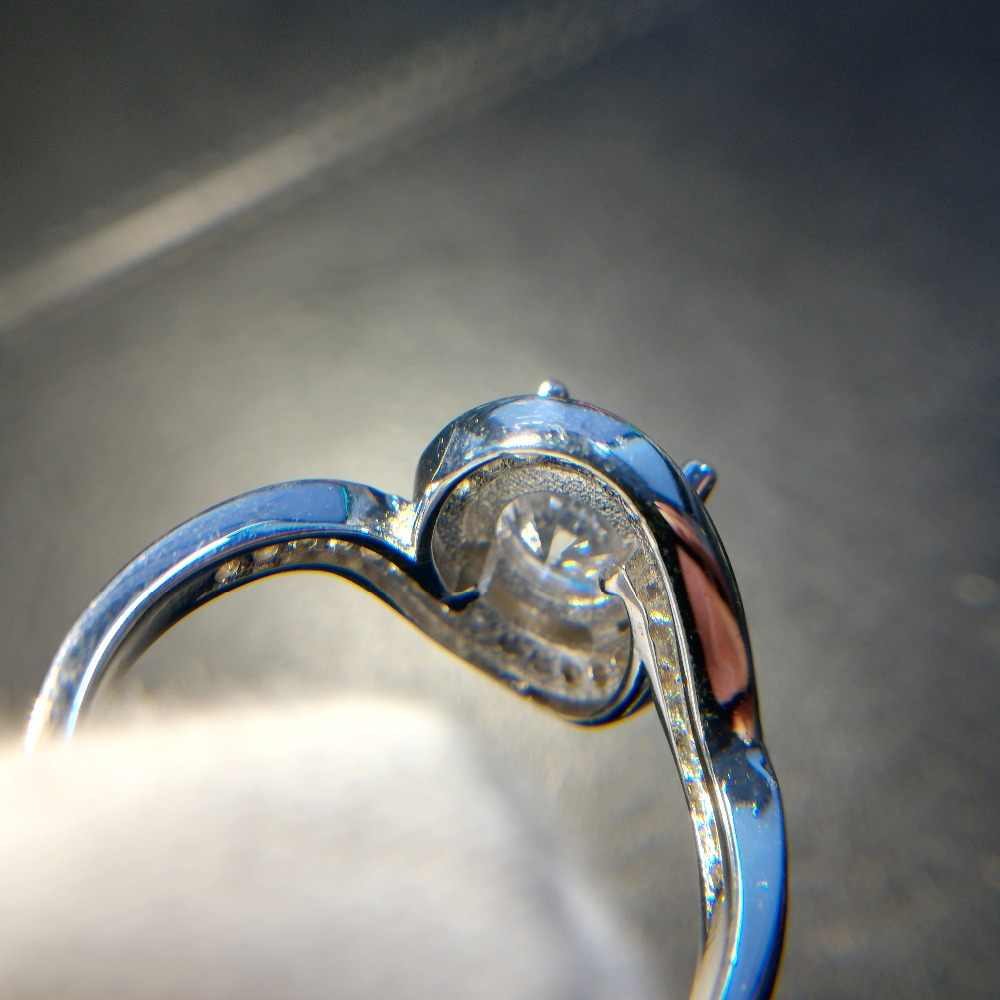 Visisap Redonda Grande Anel de Pedra Anéis moda jóias Para As Mulheres moda Casamento Jóias Ouro Branco cor VSR226 Dropshipper