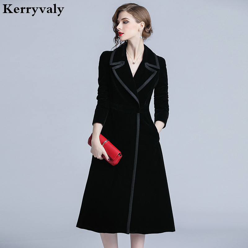 Luxury Black Velvet Long Winter Coat Casacas Para Mujer Invierno 2019 Gothic Long Sleeves Women Coat