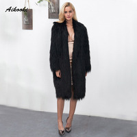 Aikooki Women Faux Fur Long Coats Winter Warm Overcoat Jacket Faux Fox Outerwear Womens Fashion Faux Mink Fur Thick Plush Hairy