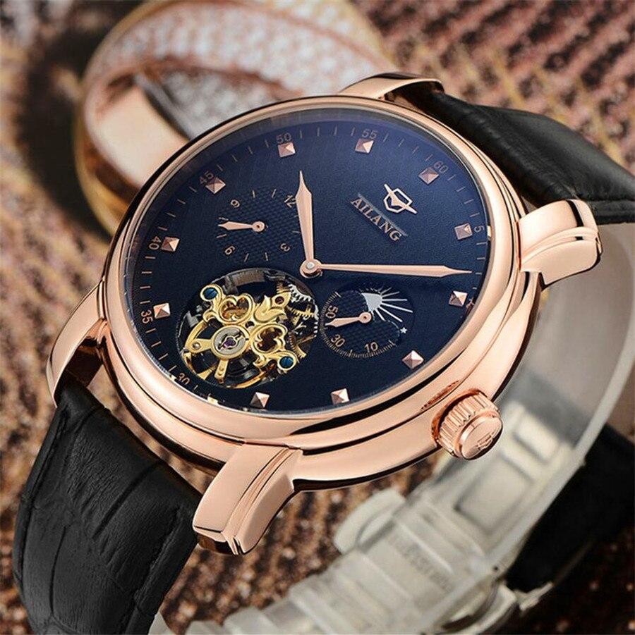 AILANG célèbre marque montre 2018 nouveaux hommes de luxe automatique montres mécaniques boîtier en or Rose cadran bleu bracelet en cuir Phase de lune