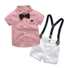 Summer Cute Toddler Infant Baby Boys Short Sleeve Gentleman Bow Tie T-Shirt Tops+Shorts Overalls 2pcs Clothes Outfits недорого