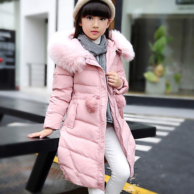 купить 2017 Winter warm Children jacket for Jackets Girls clothes Child Long Heavy hair collar thickening Collect waist Coat parka недорого