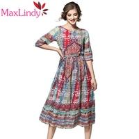 Maxlindy Marke 2017 Neue Vintage Inspirierte Frauen Kleid Floral Gedruckt Schlank Vestidos Casual Kleid Robe