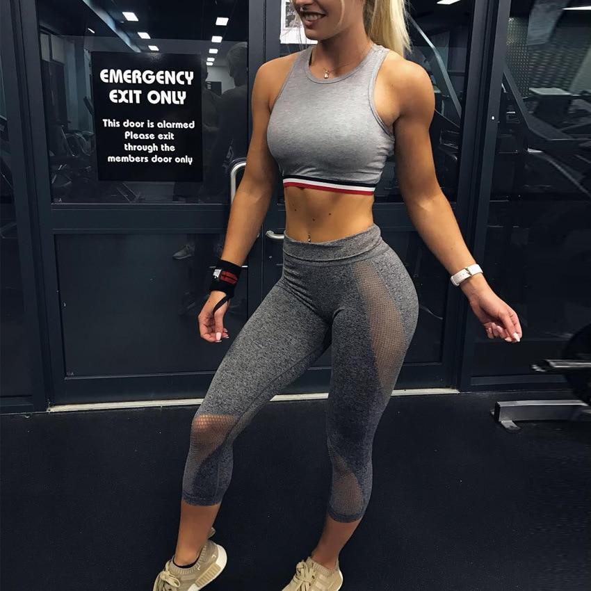 Gray Sporting Leggings Yoga Pants Yoga Bottoms Trousers 3