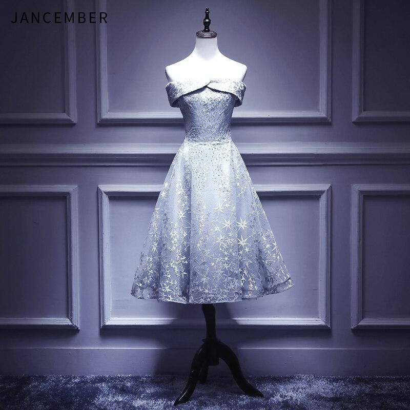 JANCEMBER 2019 Dernière robe de Cocktail courte Gris Hors de L'épaule à lacets Dos Dentelle Élégante robe de cocktail courte
