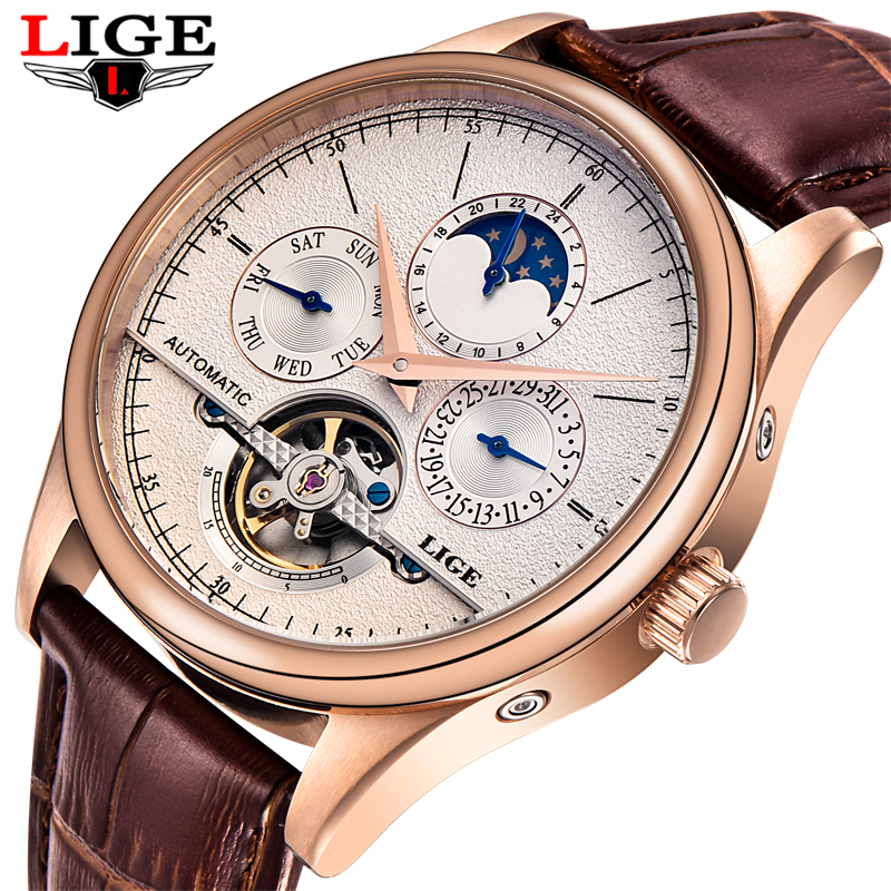 LIGE Mens Watches Top Brand Luxury Automatic Mechanical Watch Men Male Clock Business Waterproof Sport Watches Relogio Masculino men watch top luxury brand lige mens mechanical watches waterproof sport stainless steel rose gold business fashion male clock